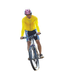 young man riding mountain bike isolated white background use for