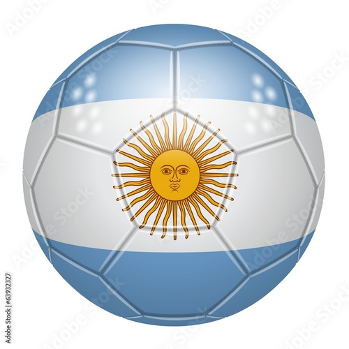 Soccer ball art the colors of Argentina