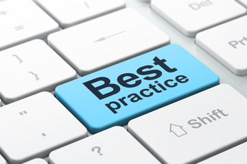 Education concept: Best Practice on computer keyboard background