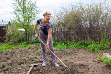 Shapely blond leveled ground rake in the spring garden