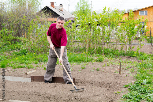 Man leveled seedbed rake in the garden