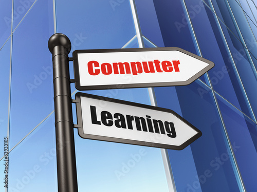 Education concept: sign Computer Learning on Building background