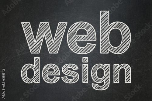 Web design concept: Web Design on chalkboard background