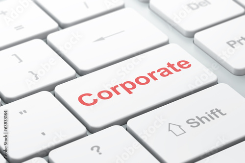 Business concept: Corporate on computer keyboard background