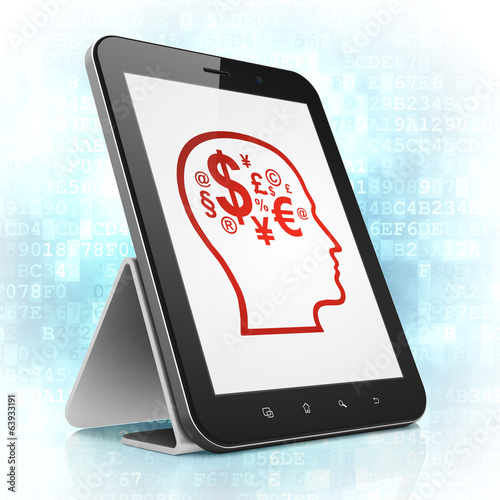 Advertising concept: Head With Finance Symbol on tablet pc