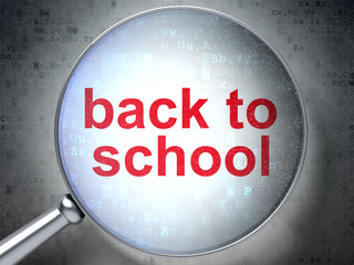 Education concept: Back to School with optical glass