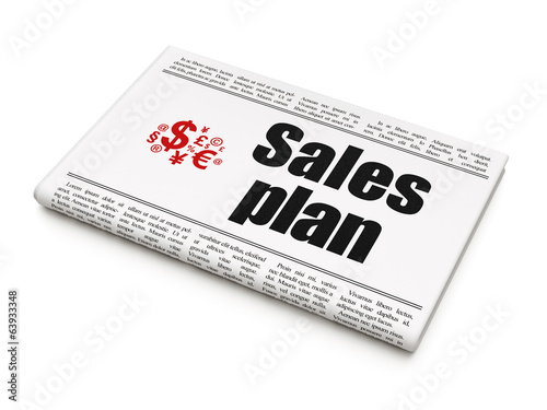 Advertising concept: newspaper with Sales Plan and Finance