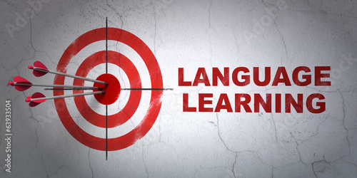 Education concept: target and Language Learning on wall