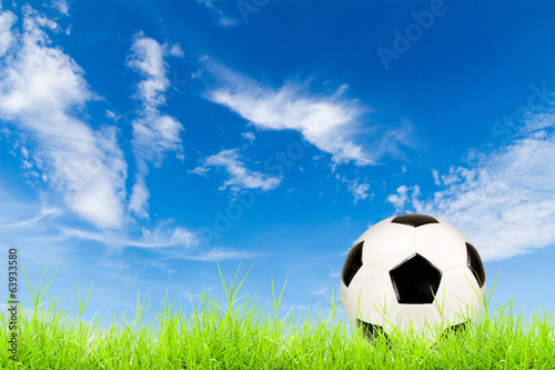soccer ball on green grass with blue sky