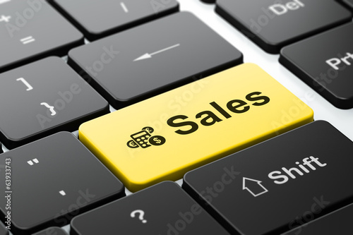Advertising concept: Calculator and Sales on computer keyboard