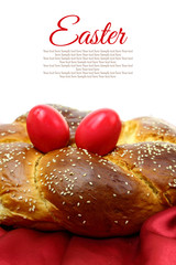 Easter sweet brioche with red eggs