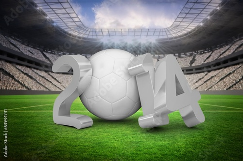 Composite image of world cup 2014 in white and grey