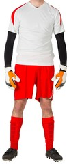 Goalkeeper in red and white standing