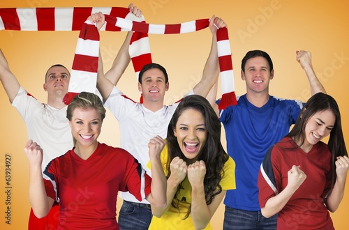 Composite image of football fans