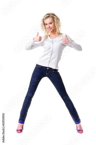 Full body young woman in casual clothes isolated over a white
