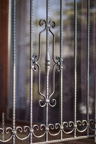 detail of decorative wrought iron railing