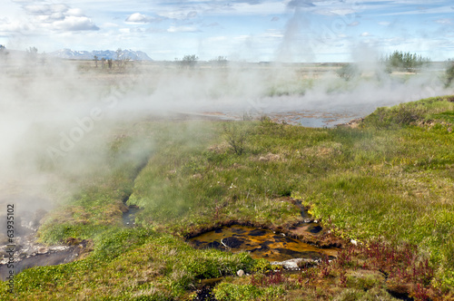 Landscape with thermal spring, Iceland