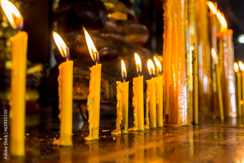 Row of candle at the buddhism temple