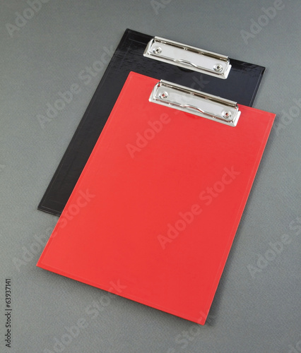 Red and black plastic clipboard