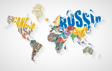 Text world map