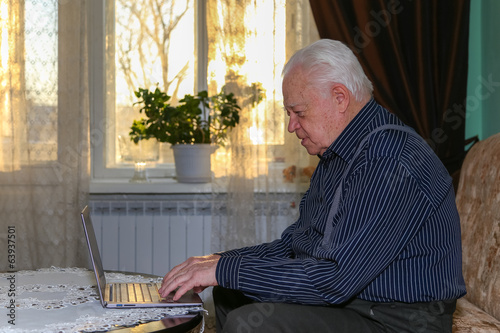 Grandfather printing on the notebook