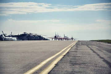 Jet planes rolling on an airport runway
