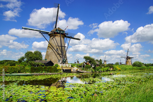 Picturesque landscape with windmills. Kinderdijk