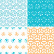 Four abstract blue yellow floral shapes seamless patterns set