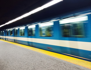 Subway train in Montreal