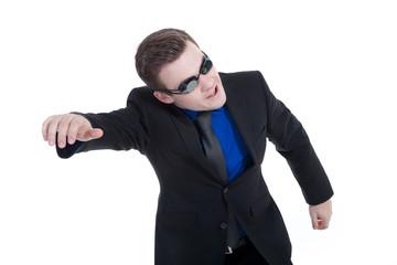 Geschäftsmann mit Taucherbrille schwimmt