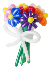bouquet with colorful balloon flowers  on the white background