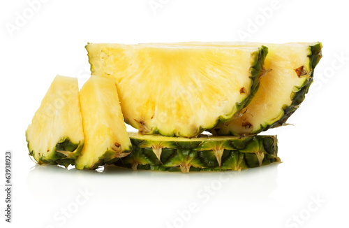 pineapple slices on the white background