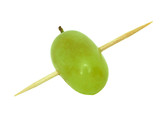 grape poked by toothpick macro poster
