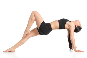 Fitness woman stretching exercising aerobic