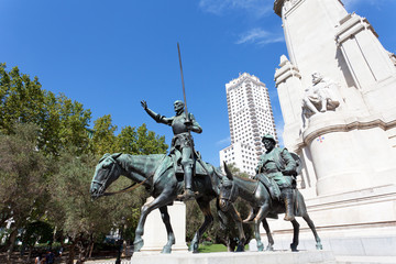 Madrid. Monument to Cervantes, Don Quixote and Sancho Panza.