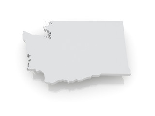 Three-dimensional map of Washington. USA.