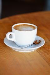 Coffee. Cappuccino. Cup of Cappuccino or Latte Coffee