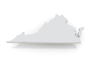 Three-dimensional map of Virginia. USA.