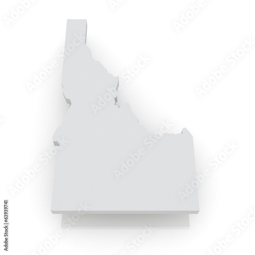 Three-dimensional map of Idaho. USA.