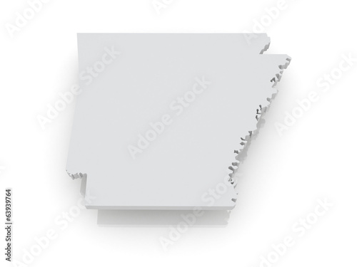 Three-dimensional map of Arkansas. USA.