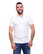 Young happy man in a white polo shirt