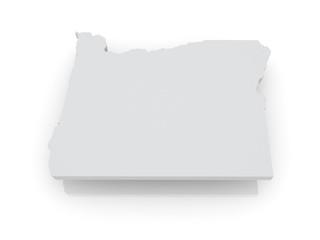 Three-dimensional map of Oregon. USA.