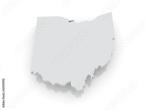 Three-dimensional map of Ohio. USA.