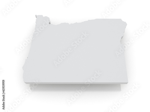 Three-dimensional map of Oregon. USA.