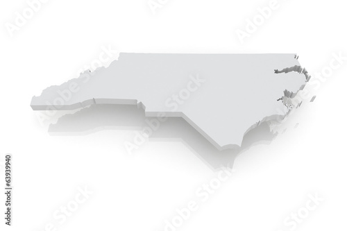 Three-dimensional map of North Carolina. USA.