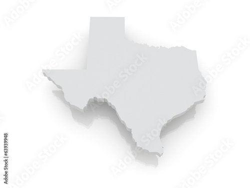 Three-dimensional map of Texas. USA.