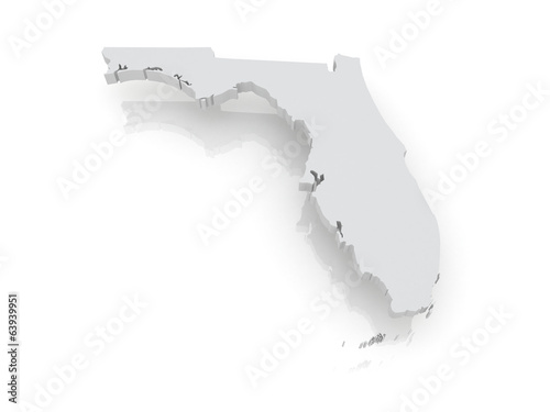 Three-dimensional map of Florida. USA.
