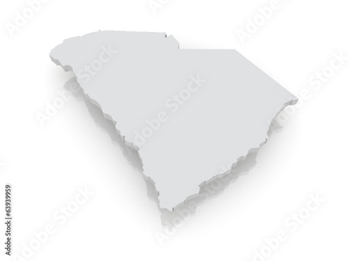 Three-dimensional map of South Carolina. USA.