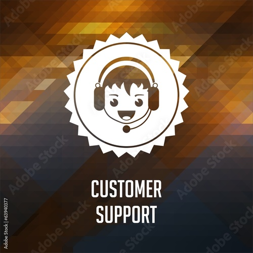 Customer Support on Triangle Background.
