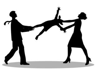 coppia che litiga per la custodia dei figli